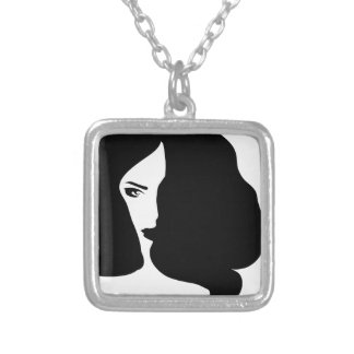 woman silver plated necklace