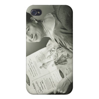 Woman Sitting in Chair Covers For iPhone 4