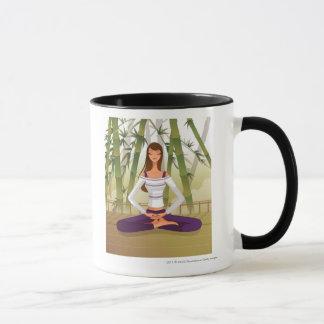 Woman sitting in lotus position, meditating mug