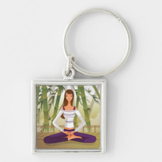 Woman sitting in lotus position, meditating Silver-Colored square keychain