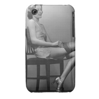 Woman Sitting on Chair iPhone 3 Case