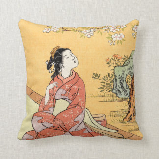 Woman Sitting Under Cherry Blossoms Throw Pillow