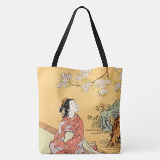 Woman Sitting Under Cherry Blossoms Tote Bag