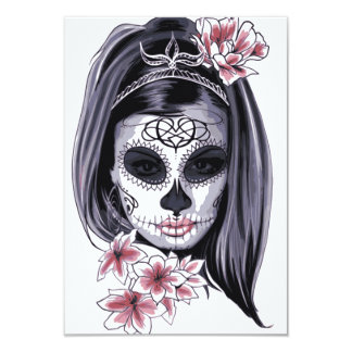 Woman skeleton mask card