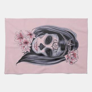 Woman skeleton mask kitchen towel