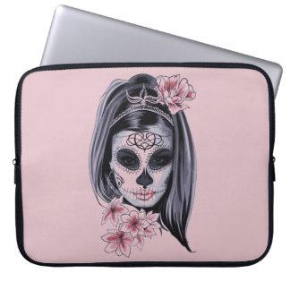 Woman skeleton mask laptop sleeve