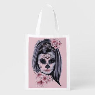 Woman skeleton mask reusable grocery bag