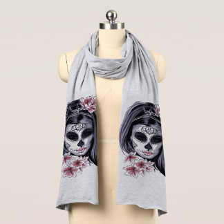 Woman skeleton mask scarf
