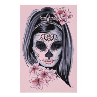 Woman skeleton mask stationery