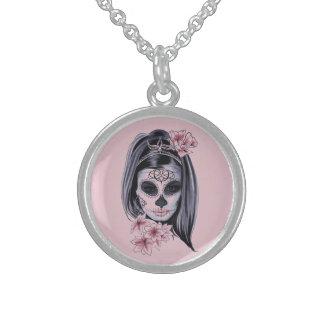 Woman skeleton mask sterling silver necklace