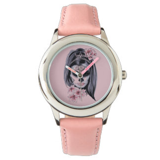 Woman skeleton mask watch