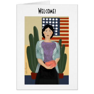 Woman stands In Front of stylized American flag2 Card