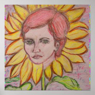 Woman Sunflower Poster
