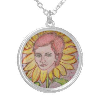 Woman Sunflower Round Pendant Necklace