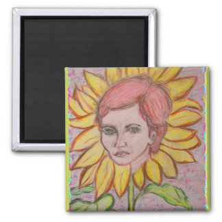 Woman Sunflower Square Magnet