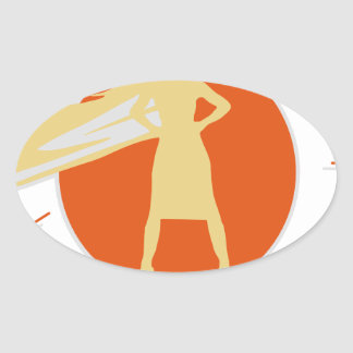 woman-superstar oval sticker