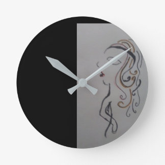 Woman time round clock