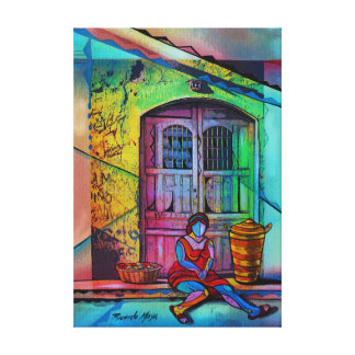 Woman to seller canvas print
