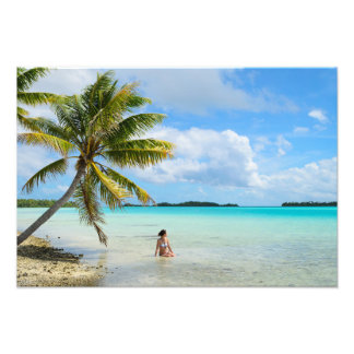 Woman under a palm tree in the Pacific photo print