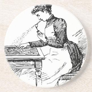Woman Using Old Airbrush Coaster