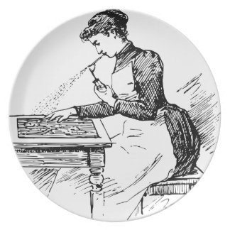 Woman Using Old Airbrush Dinner Plate