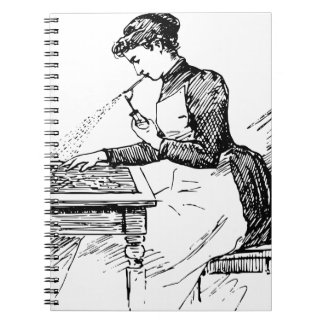 Woman Using Old Airbrush Notebooks