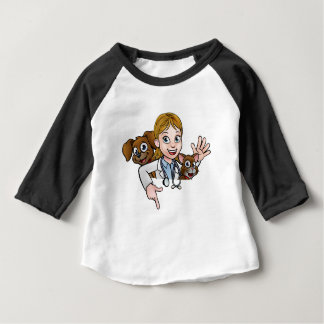 Woman Vet Cartoon Character Pointing Sign Baby T-Shirt