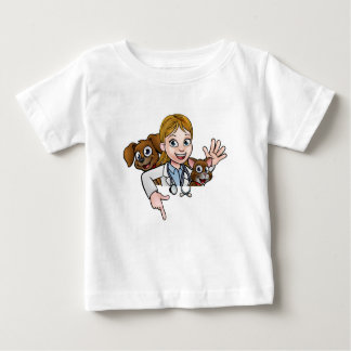 Woman Vet Cartoon Character Pointing Sign Baby T-Shirt