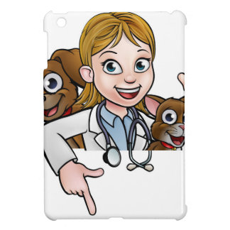 Woman Vet Cartoon Character Pointing Sign Cover For The iPad Mini