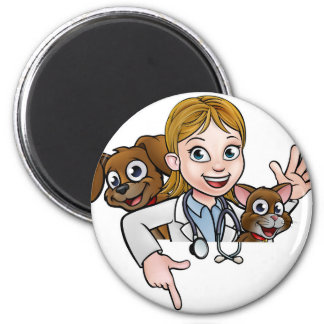 Woman Vet Cartoon Character Pointing Sign Magnet
