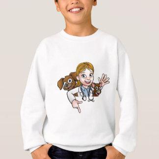 Woman Vet Cartoon Character Pointing Sign Sweatshirt