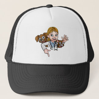 Woman Vet Cartoon Character Pointing Sign Trucker Hat