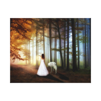 Woman Walking With a Wolf Canvas Print