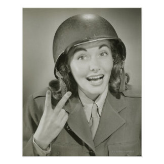 Woman Wearing an Army Helmet Poster