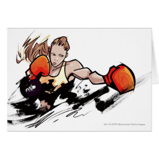 Woman wearing boxing glove card
