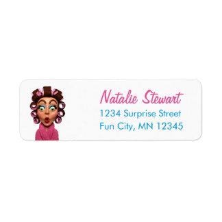 Woman Wearing Curlers Retro Unique Pink Return Address Label