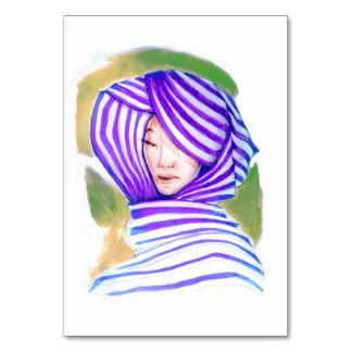 Woman Wearing Hijab Postcard Art Table Cards