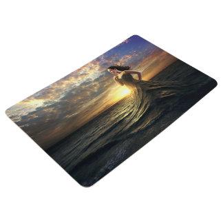 Woman Wears the Ocean as Dress Floor Mat