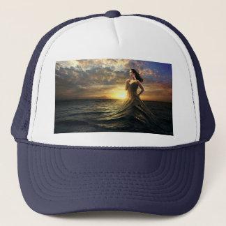Woman Wears the Ocean as Dress Trucker Hat