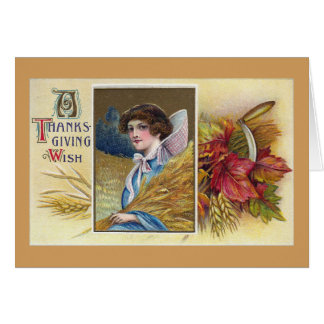 Woman, Wheat and Sickle Vintage Thanksgiving Card