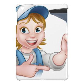 Woman Window Cleaner Cartoon Character Case For The iPad Mini