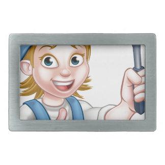 Woman Window Cleaner Cartoon Character Rectangular Belt Buckle