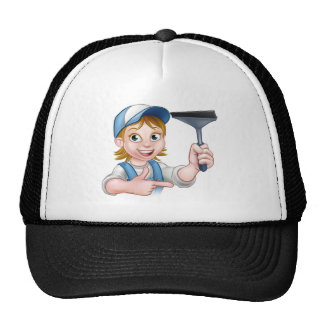 Woman Window Cleaner Cartoon Character Trucker Hat