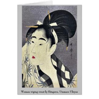 Woman wiping sweat by Kitagawa, Utamaro Ukiyoe Card