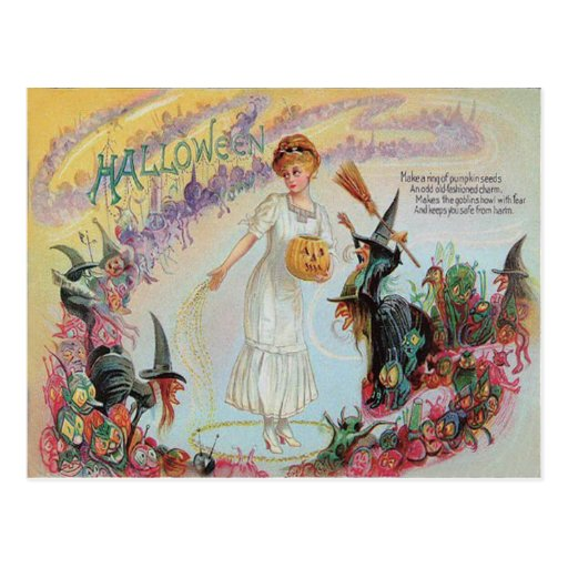 Woman Witch Goblin Jack O Lantern Pumpkin Post Card
