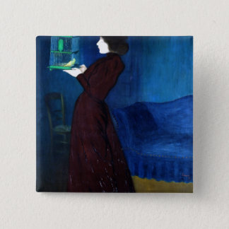 Woman with a Bird Cage 2 Inch Square Button