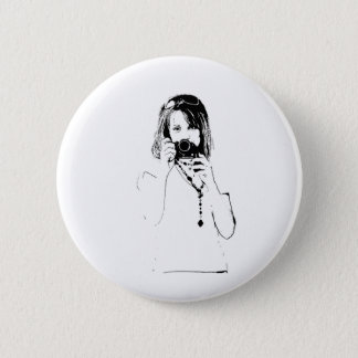 woman with a camera 2 inch round button
