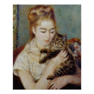 Woman with a Cat by Pierre-Auguste Renoir Poster