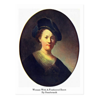 Woman With A Feathered Beret By Rembrandt Postcard