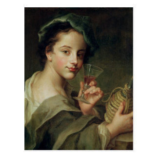 Woman with a Glass of Wine Postcard